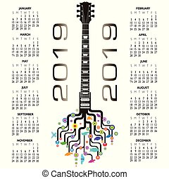 2019 Calendar with a whimsical guitar background