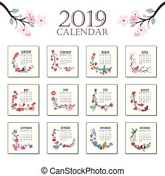 2019 Calendar with beautiful colorful birds and flowers