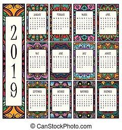2019 calendar with beautiful intricate mandalas