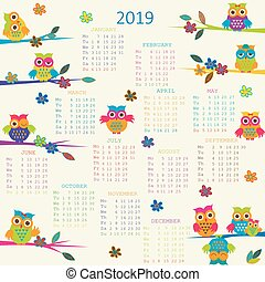 2019 Calendar with cartoon owls