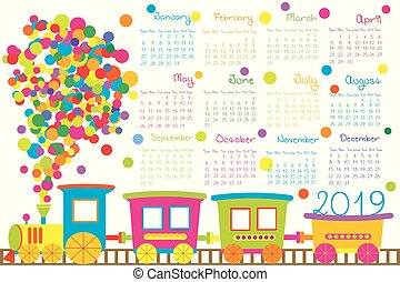 2019 calendar with cartoon train for kid