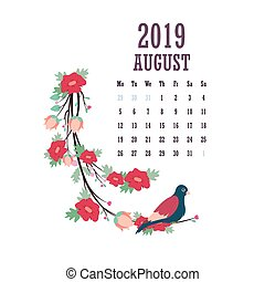 2019 Calendar with colorful birds and flowers - August