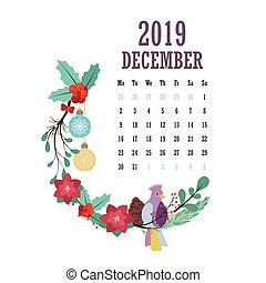 2019 Calendar with colorful birds and flowers - December