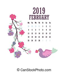 2019 Calendar with colorful birds and flowers - February