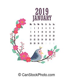 2019 Calendar with colorful birds and flowers - January