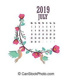2019 Calendar with colorful birds and flowers - July