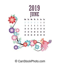 2019 Calendar with colorful birds and flowers - June
