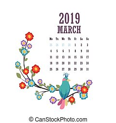2019 Calendar with colorful birds and flowers - March