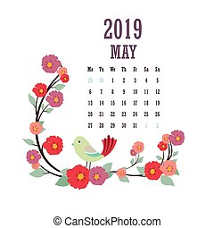 2019 Calendar with colorful birds and flowers - May