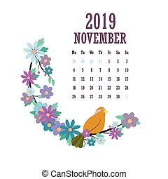 2019 Calendar with colorful birds and flowers - November