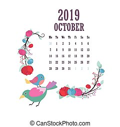 2019 Calendar with colorful birds and flowers - October