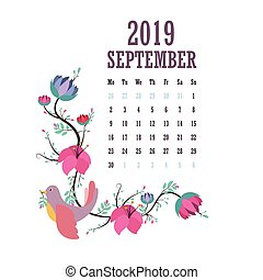 2019 Calendar with colorful birds and flowers - September