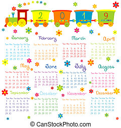 2019 Calendar with toy train and flowers for kids