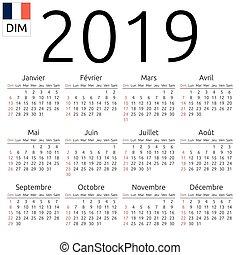 2019, calendario, francés, domingo