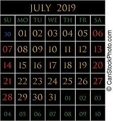 2019 Calendario Marzo Agosto Bordered Mese 2019 Fondo Nero
