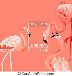 2019 Color Background Flamingo Design. Minimal Bird Poster or Landing Page. Trendy Vector Illustration in eps10