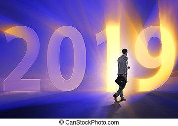 2019, concepto, año, hombre de negocios, transición