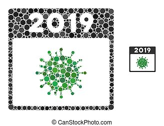 2019 covid calendar day mosaic of round pixels in variable sizes and color tints. Vector round dots are composed into 2019 covid calendar day mosaic.