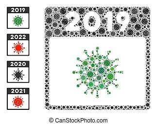 2019 covid calendar day virus mosaic icon. 2019 covid calendar day collage is composed of scattered coronavirus pictograms. Bonus pictograms are added. Flat style.