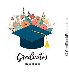 2019., diplômé, illustration, casquettes, arrière-plan., vecteur, conception, fleurs blanches, bannière, classe