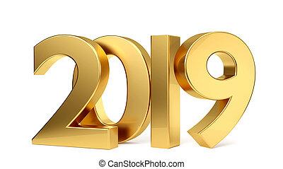 2019, dourado, arrojado, letras, 3d-illustration