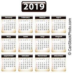 2019 English calendar