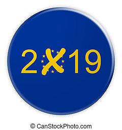 2019 EU European Election Button, 3d illustration on white background