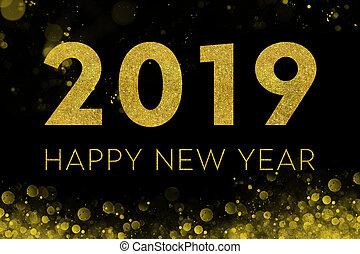 2019, feliz, -, ano novo