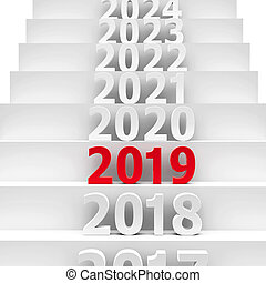 2019 future on podium represents the new year 2019, three-dimensional rendering, 3D illustration