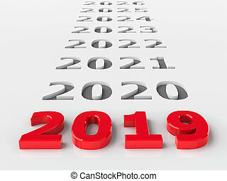 2019 future represents the new year 2019, three-dimensional rendering, 3D illustration