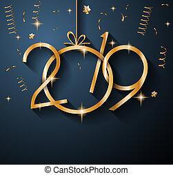 2019, gelukkig nieuwjaar, achtergrond, voor, jouw,...
