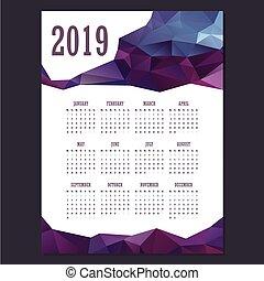 2019 Geometric calendar with purple colors