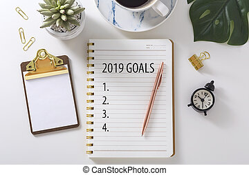 2019 Goal list on notebook
