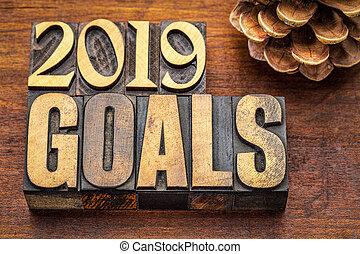2019 goals banner in wood type