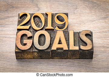 2019 goals banner in wood type