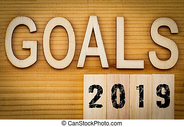 2019 goals banner - New Year resolution concept - text in vintage letters on wooden blocks
