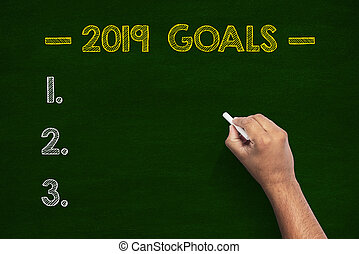 2019 Goals Word On Green Chalkboard With Human Hand