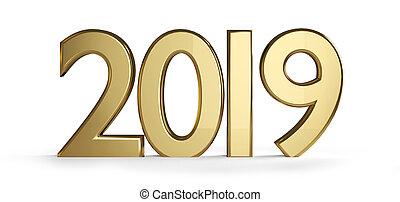 2019 golden 3d-illustration