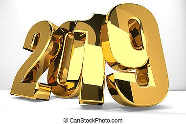 2019 golden symbol 3d render