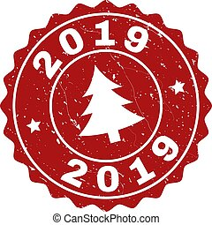 2019 Grunge Stamp Seal with Fir-Tree