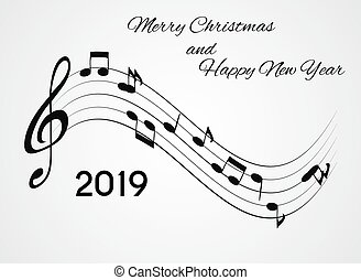2019 Happy New Year and Merry Christmas on Abstract music Background. Vector Illustration