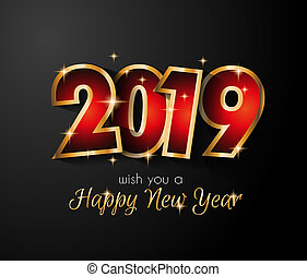 2019 Happy New Year Background for your Seasonal Flyers and Greetings Card or Christmas