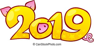 Yellow Earthy Pig is a Symbol of the New 2019 Year. Seasonal greeting card, calendar, brochure template. Happy New Year card design. This image is a vector illustration and can be scaled to any size without loss of resolution. Created in Adobe Illustrator. Image contains gradient, blending modes and...
