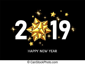2019 Happy New Year black background with golden gift bow.