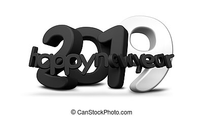 2019 happy new year black white 3d rendering