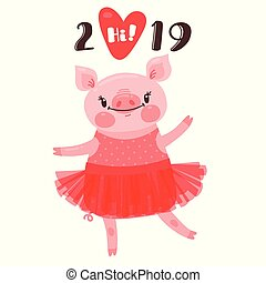2019 Happy New Year card design. Symbol of the Chinese calendar cute pig greets with love. Dancing piglet in a ballet tutu. Vector illustration in cartoon style