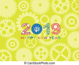 2019 Happy New Year Clock Gear Color Illustration