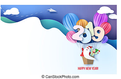 2019 New Year design card with Santa Claus and elf on air balloons on blue sky background. Vector paper art illustration. Paper cut and craft style.