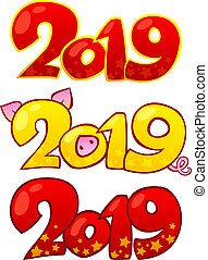 2019 Happy New Year design elements. Happy Chinese new year 2019.