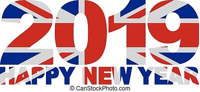 2019 Happy New Year England Flag Illustration